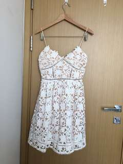 Self-portrait style white Lace dress with nude lining