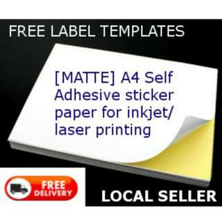 [20/30/80sheets] [MATTE] A4 Self Adhesive Sticker Paper for Inkjet/Laser printers labels