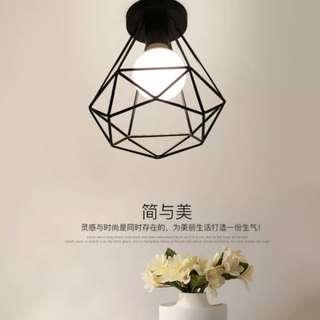 鑽石吸頂燈 美式吸頂燈 復古loft 工業風 簡約玄關餐廳卧室走道燈 美式吊燈 鐵藝吊燈IKEA