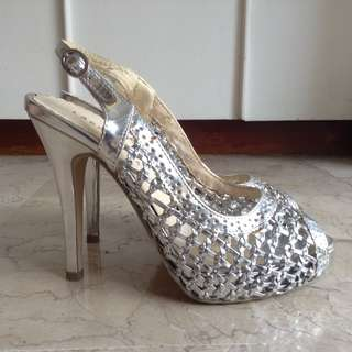 Lady Rustan Silver High Heels Shoes