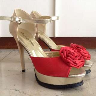 Mario D' Boro Gold High Heels Shoes