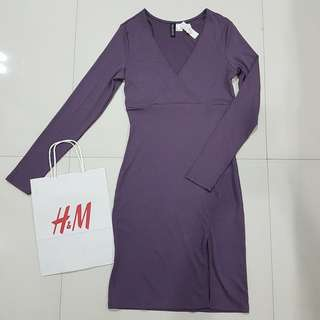 Bnwt Authentic Divided by H&M V-Neck Wrap Front Slit Fitted Bodycon Dress