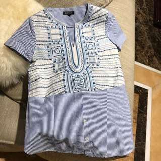 Embroidery striped top