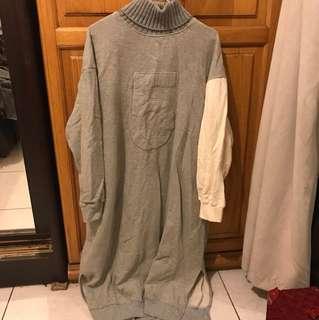 《二手》高領灰色拼接單袖長版洋裝