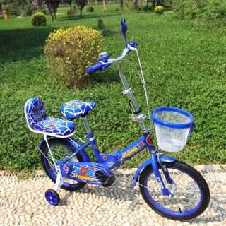 Folding Bike With Passenger Seat and Balancer Blue Spiderman
