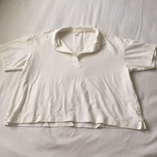 Uniqlo Boxy Polo Top in White