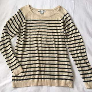 Forever 21 Beige Striped Knit Sweater