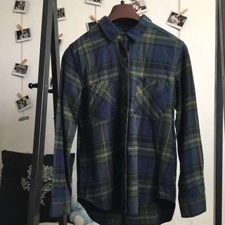 LA Hearts/Pacsun Blue and Green Flannel Checkered Button down