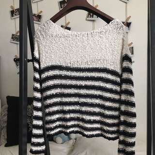 Brandy Melville Black and White Knit Sweater