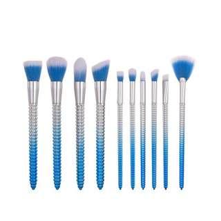 10 piece blue brush set