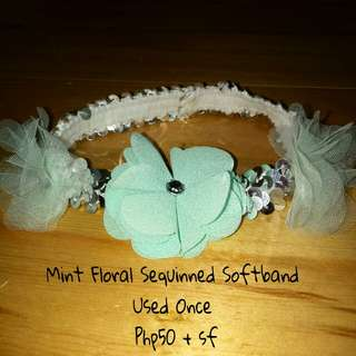 Mint Floral Sequinned Softband