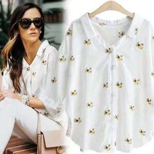 🌼(L~4XL) 2018 Women Europe and America Large Size Loose Lapel Floral Sleeve Shirt Shirt🌼