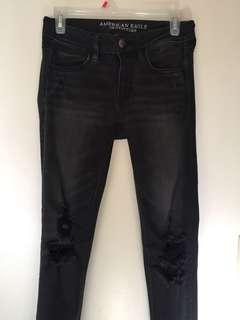 American Eagle Black Distressed Jeans