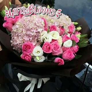 Fresh Flower Bouquet Anniversary Birthday Flower Gifts Graduation Roses Sunfowers Baby Breath -  3CB44