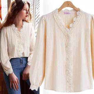 (L~4XL) Spring and summer new women's European and American lace stitching long-sleeved shirt shirt