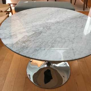 Round marble family table