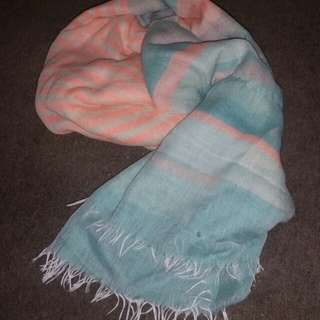 Orange and blue soft scarf