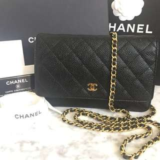 Chanel Black Caviar Wallet On Chain with Gold Hardware