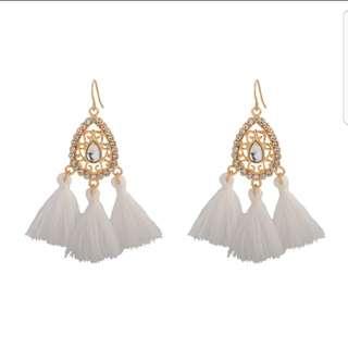 White crystal Tassel Earring