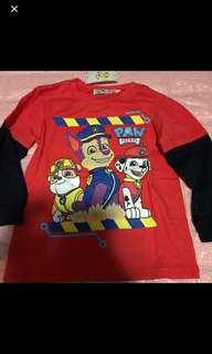 Instock Paw Patrol Long sleeve TOP Brand New Size 120cm for 5-6yrs old