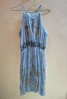 Blue embroidered dress used once on beach trip