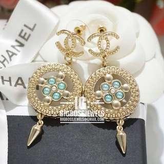 Gold Blue Green Dangling Drop Earrings Ear Studs