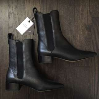 Zara Black Pointed Leather Toe Boots