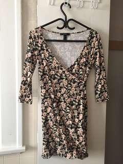 Floral tight minidress forever 21