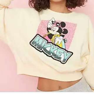 Garage 80s crew neck sweatshirt transparent yellow (Mickey Mouse print)