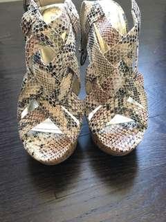 Snakeskin platform wedge/heels