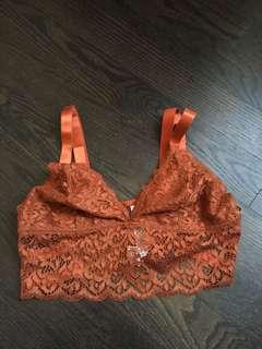 Terracotta lace bralette