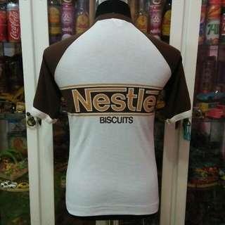Vintage NOS 80's Malaysia Item Nestle Biscuits Raglan Ringer T Shirt