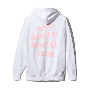 Anti Social Social Club Hoodie  (White and Pink)