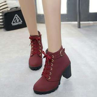 (No trades!!).Maroon Martin heel boot shoe  * worn onces comes with shoe box *pm if int