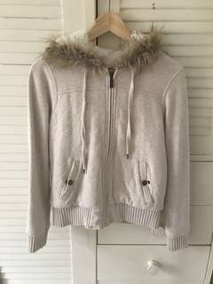 Fluffy hood jacket