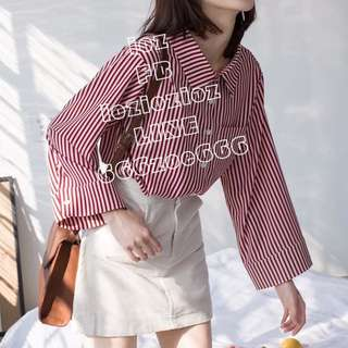 ioz 小清新條紋襯衫上衣 春