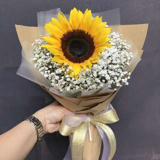 Single Sunflower And Baby Breath Hand Bouquet