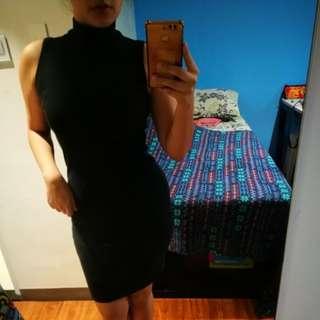 Turtleneck Bodycon Dress - BLACK