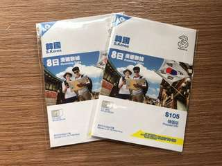 7折!全新韓國8日漫遊數據卡 (原價$105張)