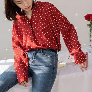 ioz 春 小清新圓點寬鬆長袖襯衫衣