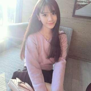 Korean long hair wig / long straight hair air band wig