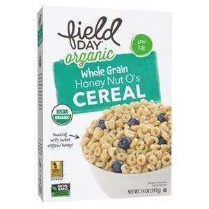 Field Day Organic Honey Nut O's Whole Grain Cereal, 387g