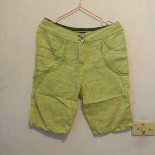 棉麻五分褲11碼💚漂亮清爽的檸檬綠色 很夏天