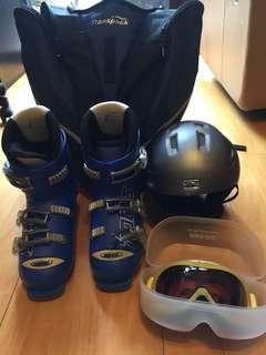 Ski Boots and Helmet set