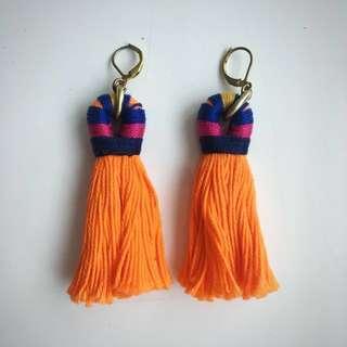 Orange Tassel Earrings