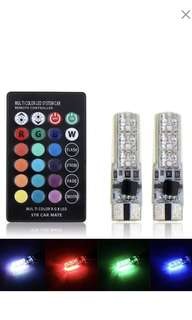 2pcs T10 5050 LED RGB Multi-color Interior Wedge Side Light Strobe with Remote Control