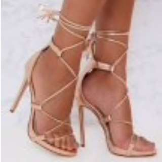 Rose gold lace up High heels