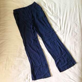 ZARA wide leg high waisted navy trouser pants
