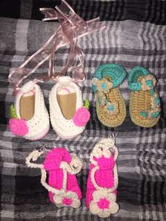 Assorted Crochet Baby Shoes and Sandals