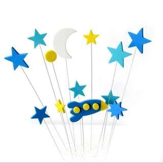生日蛋糕插牌 裝飾 太空 星星 月亮